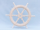 Handcrafted Model Ships SW-173124 Classic Wooden Whitewashed Ship Steering Wheel 24