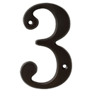 Harney Hardware 38310 4 In. House Number 3, Solid Brass