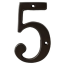 Harney Hardware 38510 4 In. House Number 5, Solid Brass