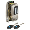 Harney Hardware EDLRFU15 Electronic Push Button Door Lock W/ Remote RF Key Fob, Satin Nickel