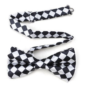TopTie Mens Black & White Checkerboard Pre-Tied Satin Formal Bow Tie