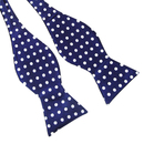 TopTie Wholesale 50 Pcs Mens Black & Blue Polka Dots Self-Tie Bow Tie