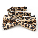 TopTie Unisex Fashion Leopard Spotted Slim Tan & Black Bow tie