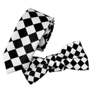 TopTie Unisex Fashion Black & White Checkerboard Skinny Necktie Bowtie Matching Set