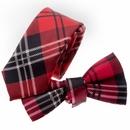 TopTie Unisex Black And Red Plaid Skinny Necktie Bowtie Matching Set