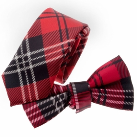 TopTie Unisex Fashion Black And Red Plaid Skinny Necktie Bowtie Matching Set
