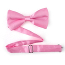 TopTie Mens Solid Pink Satin Banded Bow Tie, Breast Cancer Awareness Color