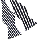 TopTie Unisex Black & White College Stripe Self-Tie Bow Tie
