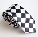 TopTie Unisex Fashion Black & White Checkerboard Skinny Necktie, Discount Neckties