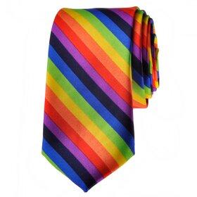 TopTie Unisex Fashion Diagonal Colorful Rainbow Stripe Skinny Necktie, Discount Neckties