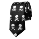 TopTie Black with Tiny White Skulls & Crossbones Skinny 2