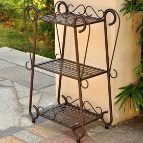International Caravan 3562 Santa Fe Iron Nailhead 3-Tier Plant/Utility Shelf, Matte Brown