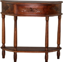 International Caravan 3867 Carved Half Moon Wall Table, Brown Stain