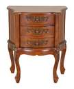 International Caravan 3876 Carved Wood Three Drawer Scalloped Night Stand, Brown Stain