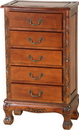 International Caravan 3886 Carved Wood Five Drawer Jewelry Chest, Brown Stain