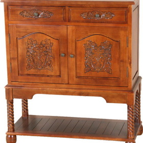 International Caravan 3888 Carved Wood Cupboard, Brown Stain