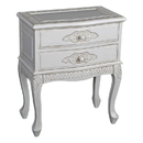 International Caravan 3964-AW Carved Wood Two Drawer Table, Antique White