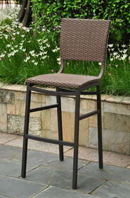 International Caravan Barcelona Set of Two Resin Wicker/Aluminum Bar Bistro Chair