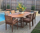 International Caravan TT-OVE-017-TT-1B-043-S-7 Royal Tahiti Set of 7 Wood Oval Dining Table with Chairs, Brown Stain