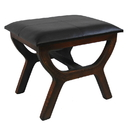 International Caravan Faux Leather Rectangular Wood Stool