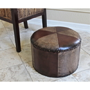 International Caravan YWLF-2526-MX Mini Round Faux Leather Stool