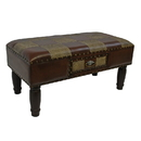 International Caravan YWLF-2532-MX Medium One Drawer Faux Leather Bench, Mixed Patch Work