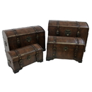 International Caravan 4-Piece Faux Leather Trunk Set