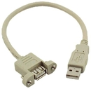 IEC M2402-MT-8IN USB Type-A Extension & Panel Mount Cable 8 inches (USB 2.0 Compliant)