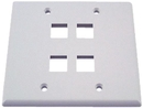 IEC WH20804 White Plastic Two Gang Wall Plate with 4 Cutouts for Keystone Inserts
