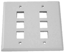 IEC WH20806 White Plastic Two Gang Wall Plate with 6 Cutouts for Keystone Inserts