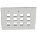 IEC WH30812 White Plastic Three Gang Wall Plate with 12 Cutouts for Keystone Inserts