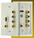IEC WLH771681 White Plastic One Gang Wall Plate with One HDMI and Five 5 RCAs (Red - Green - Blue - Red - White)
