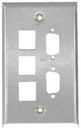 IEC WS11805 Stainless Steel Wall Plate Multimedia 1 Gang (3 Keystone + 2 VGA (DB09/DH15) cutouts)