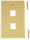 IEC WZ10802 Ivory Plastic Wall Plate with 2 Cutouts for Keystone Inserts