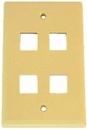 IEC WZ10804 Ivory Plastic Wall Plate with 4 Cutouts for Keystone Inserts