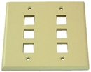 IEC WZ20806 Ivory Plastic Two Gang Wall Plate with 6 Cutouts for Keystone Inserts