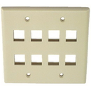 IEC WZ20808 Ivory Plastic Two Gang Wall Plate with 8 Cutouts for Keystone Inserts