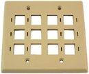 IEC WZ20812 Ivory Plastic Two Gang Wall Plate with 12 Cutouts for Keystone Inserts