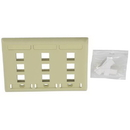 IEC WZ30809 Ivory Plastic Three Gang Wall Plate with 9 Cutouts for Keystone Inserts