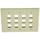IEC WZ30812 Ivory Plastic Three Gang Wall Plate with 12 Cutouts for Keystone Inserts