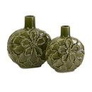 IMAX 64175-2 Poslie Dimensional Ceramic Flower Vases - Set of 2