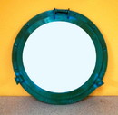"""India Overseas Trading AL486110E Porthole Mirror Aluminum Green, 20"""""""