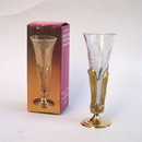 India Overseas Trading BR24014 - Brass Stand With Crackle Glass Vase