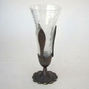 India Overseas Trading BR2401 - Brass Rose Stand Crackle Glass Container