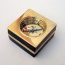 India Overseas Trading BR4841 - Wooden Desk Compass, Brass Inlay