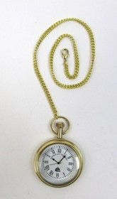 India Overseas Trading BR48659 solid brass pocket watch with chain. Superior ship timekeeper