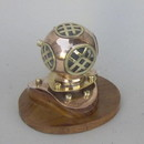 India Overseas Trading CO52570 - Copper/Brass Divers Helmet With Wooden Base