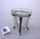 India Overseas Trading SP24092 - Cracked Glass Votive with silver plated Stand