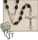 Milagros ND308 Black Oval Rosary