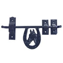 Intrepid International Barn Door Latch - Fancy Horse Head in Horseshoe